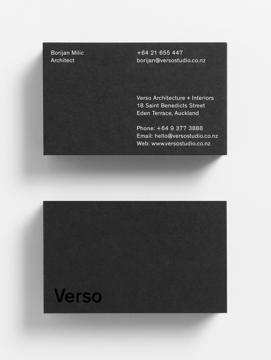Best business card designs 2017 inspiration gallery pinterest verso architectureinteriors by studio south new zealand branding businesscards reheart Gallery