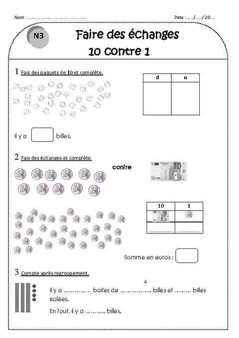 Faire des échanges 10 contre 1 - Ce1 - Exercices - Nombres ...