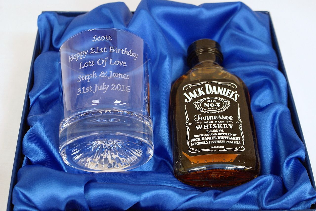 Engraved glass jack daniels 10cl gift set alcohol gifts
