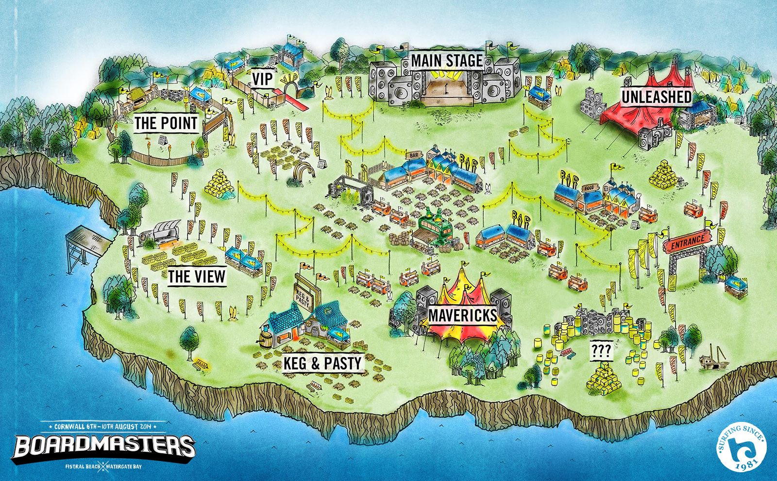 Boardmasters 2014 Map Of Watergate Bay Boardmasters