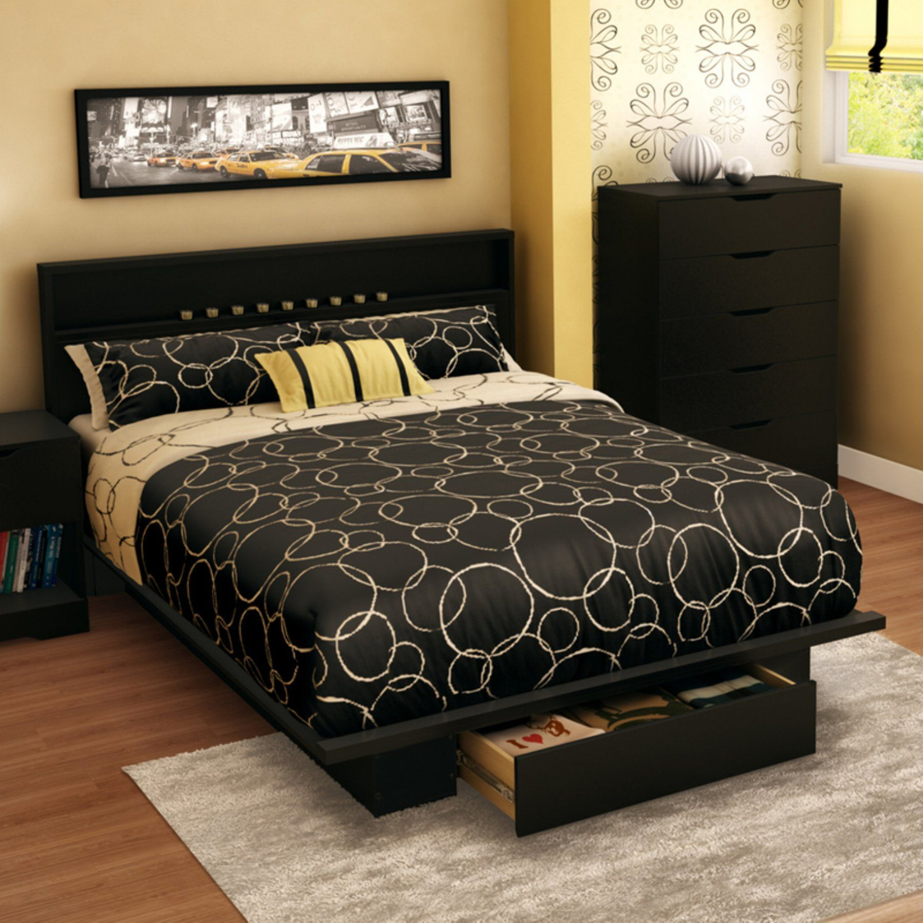 South Shore Holland Full/Queen Platform Bed with Drawer and ...