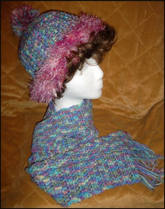Crocheted Fur look trimmed Beanie with matching by ItsNotWeird