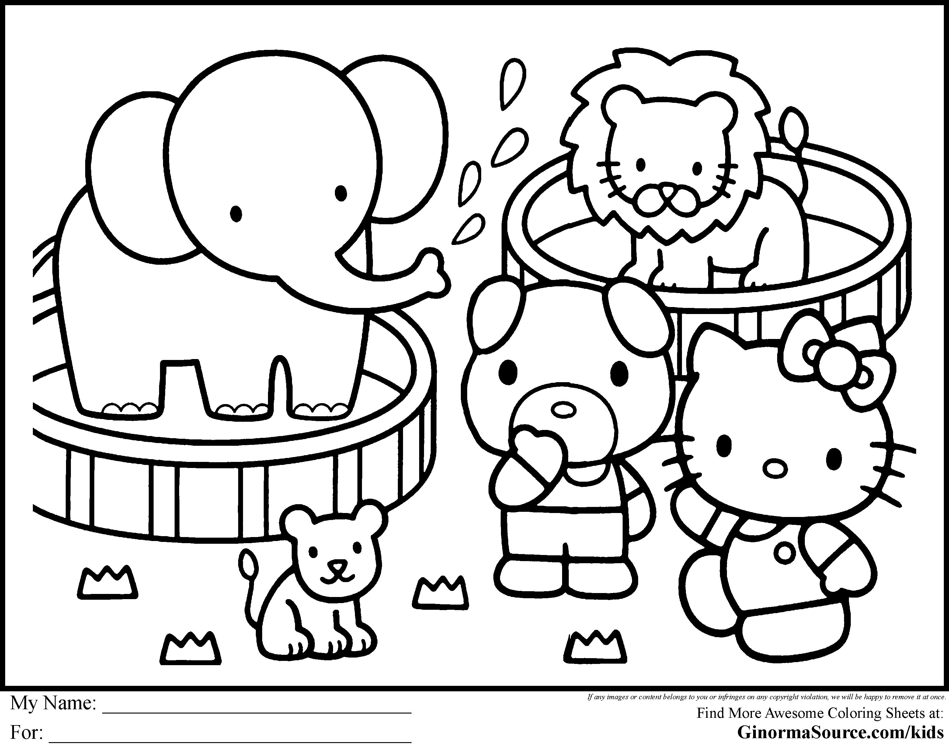 Free coloring pages for hello kitty - Hello Kitty Zoo Coloring Pages