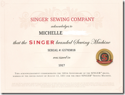 Certificate For Your Vintage Sewing Machine