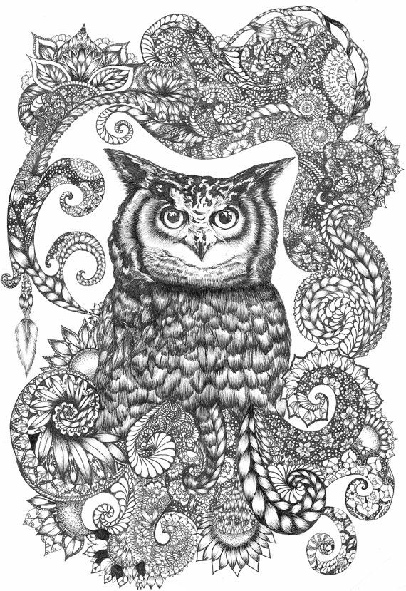 zentangle owl coloring pages - photo#6
