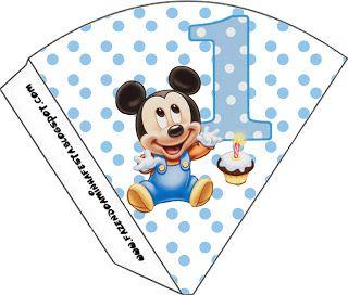 LARGE PRINTABLE SET- Mickey Baby Azul Poá – Kit Completo com molduras para convites, rótulos para guloseimas, lembrancinhas e imagens! | Fazendo a Nossa Festa