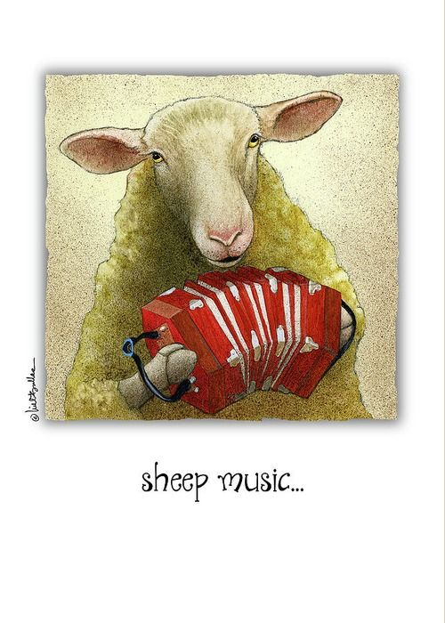 """Will Bullas Greeting Card featuring the painting """"sheep music..."""" by Will Bullas"""