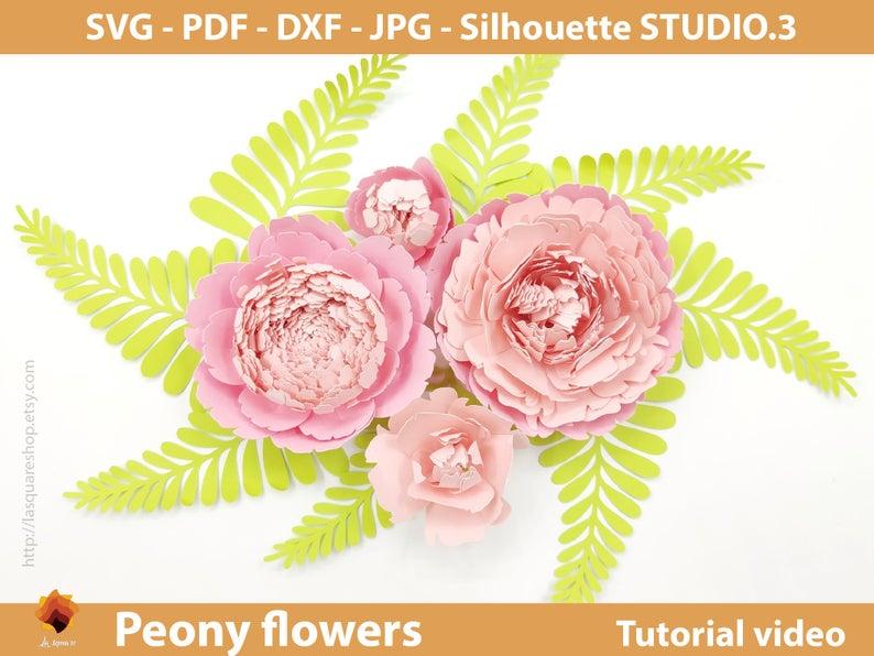 Giant Peony Paper Flowers template SVG -Diy paper flowers template - Printable flower backdrop, flower svg wedding, PDF paper flower nursery #largepaperflowers