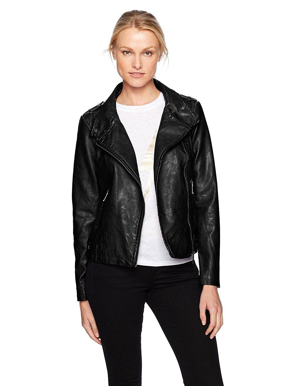 Women's Asymmetrical Faux Leather Moto Jacket Black