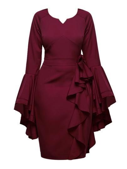 A Bell Sleeve Embellished Burgundy Dress