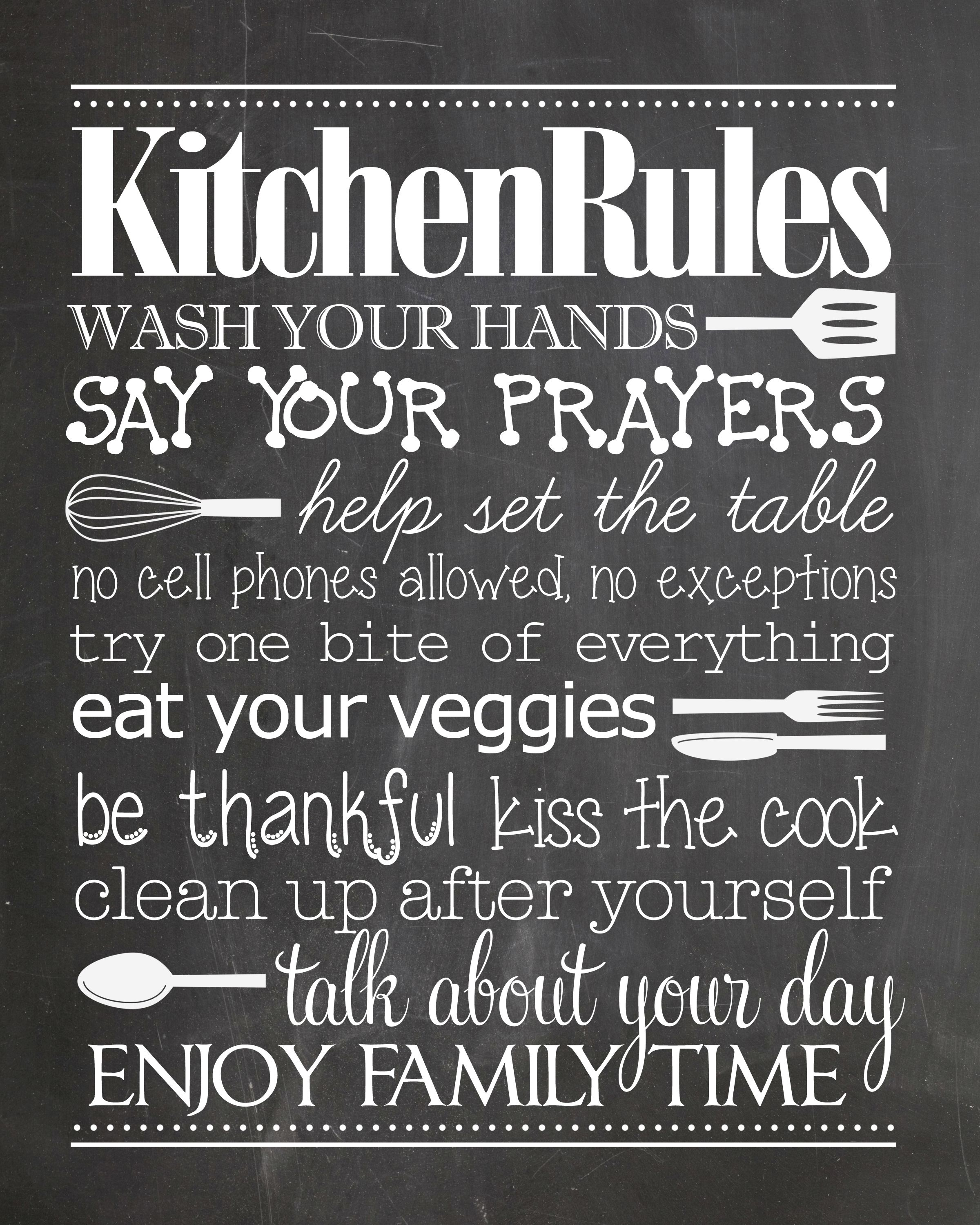 Kitchen Rules {free Printable