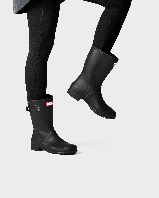 cc69a0b5fe0e Womens Black Short Packable Rain Boots