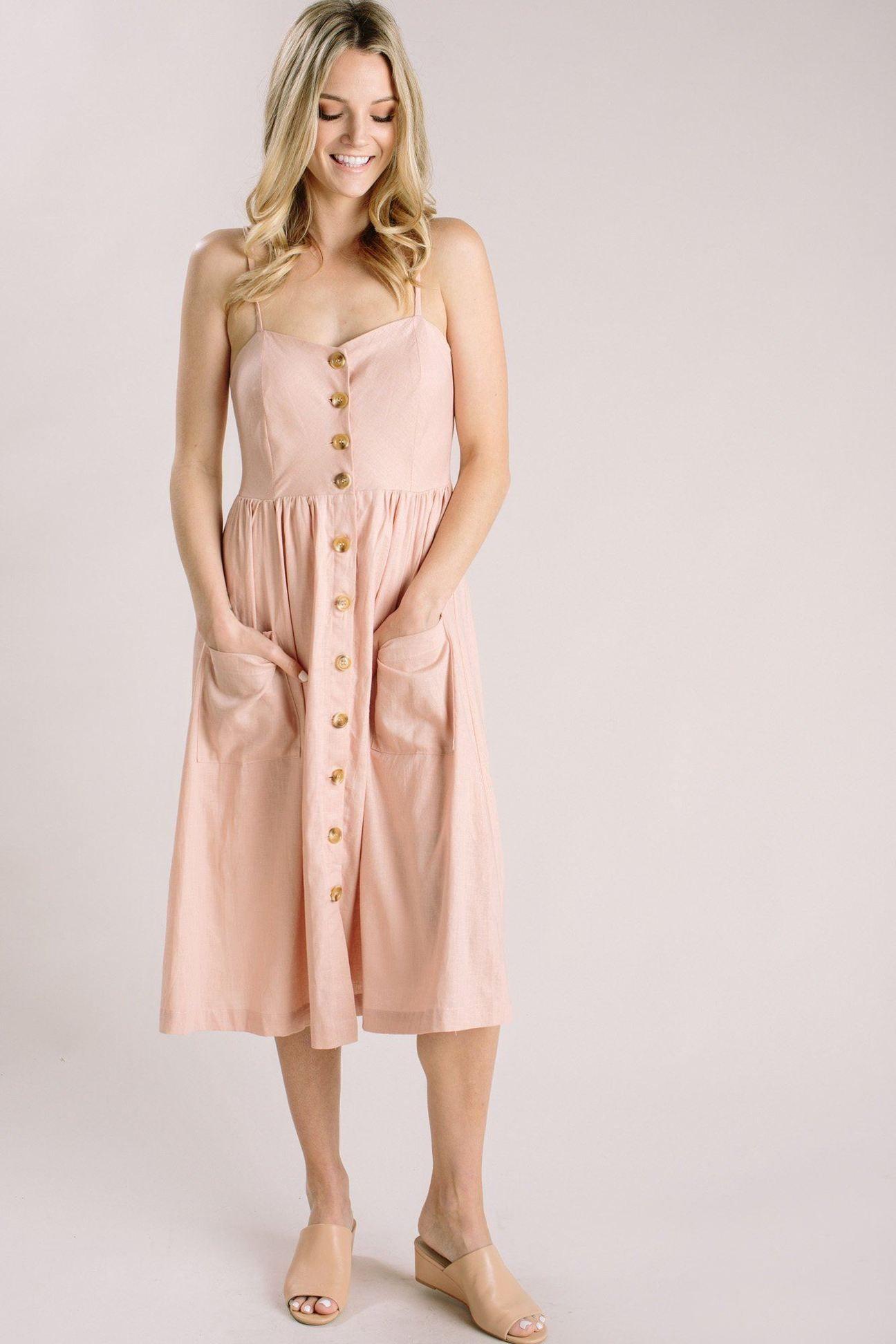f87d0533a86 Shop the Roxanne Blush Button Midi Dress - boutique clothing featuring  fresh