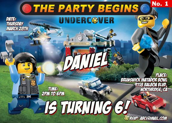 LEGO City Undercover Birthday Invitation High By PInvitations 999