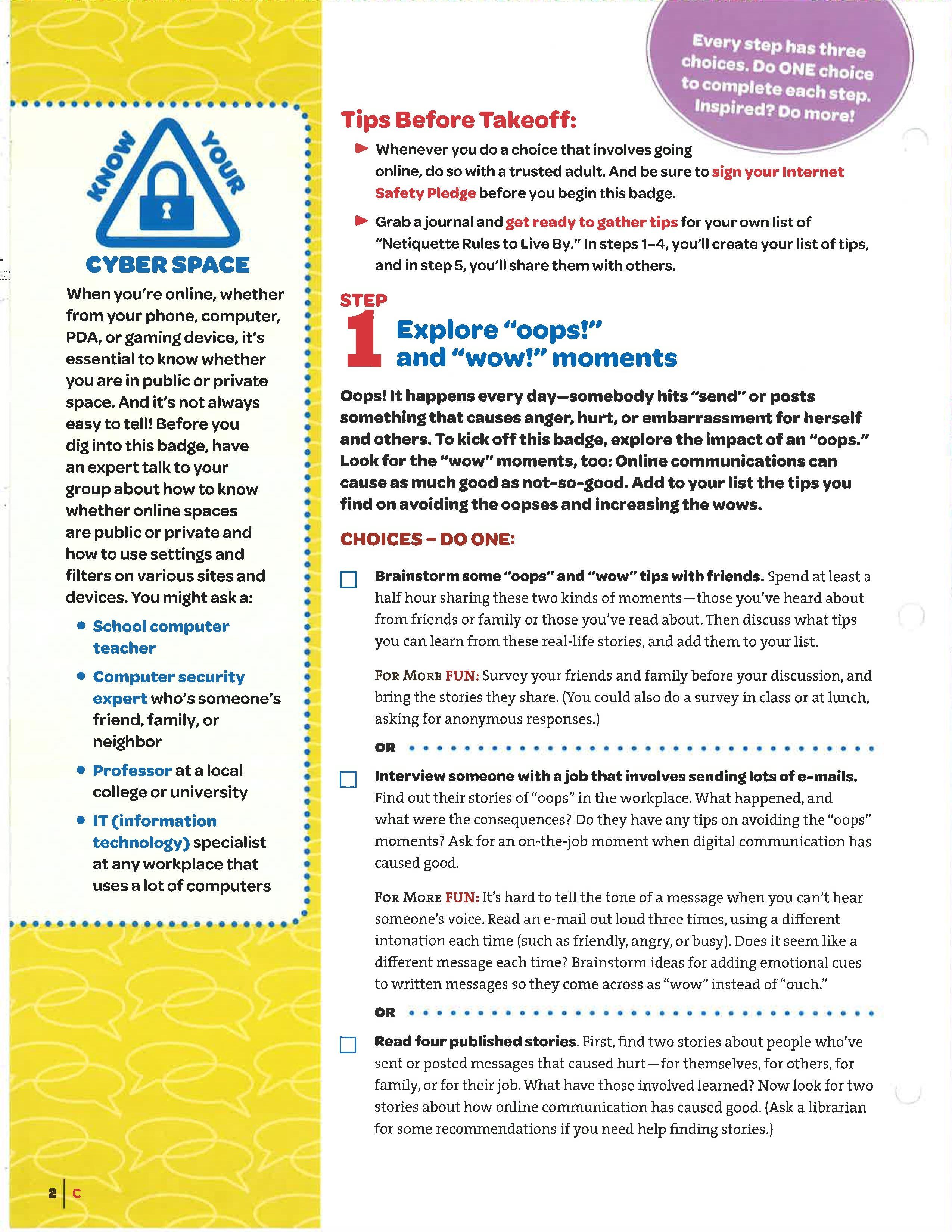 Step 1  Netiquette, Girl Scouts Cadettes, Cadette Badges-7334