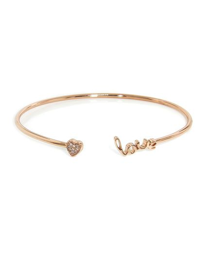 Rose Gold Love Heart Cuff Bangle