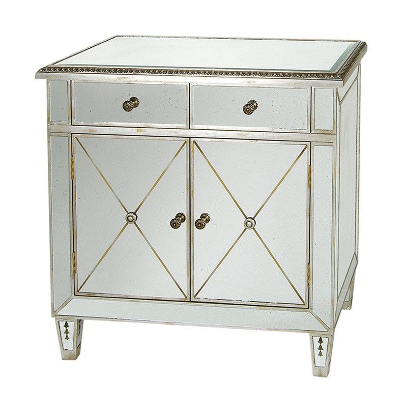 The New Classic 2 Drawer 2 Door Chest With Antique Mirror