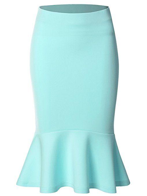 fbf06751a355df Zero City Women's Mermaid Pencil Elegant High Waist Party Work Bodycon Midi  Skirt SKY BLUE S