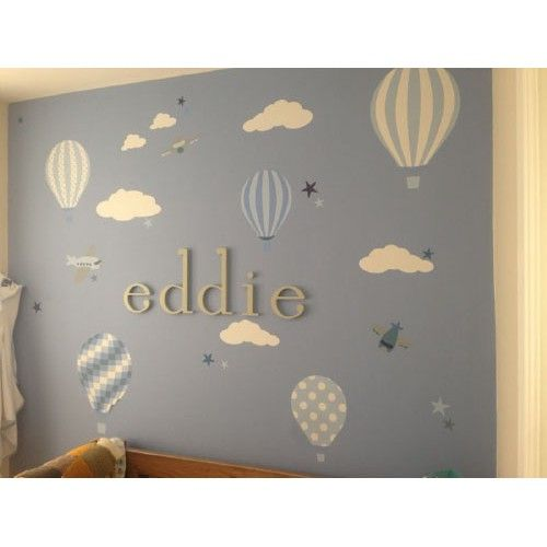 Hot Air Balloons U0026 Jets Nursery Wall Sticker Scene In Blue Made From Self  Adhesive Fabric