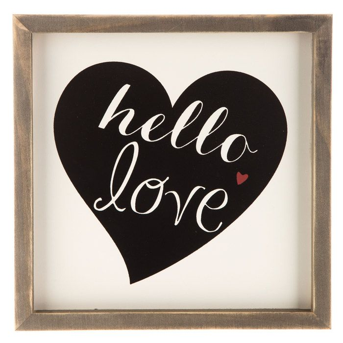 Hello Love MDF Sign with Wood Frame | Cricut projects | Pinterest ...