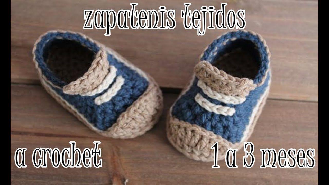 zapatitos tejidos (tipo tenis) tejidos a crochet | Zapatitos