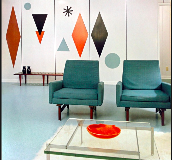 The Colours Of Mid Century Modern   Painted Shapes On The Wall.