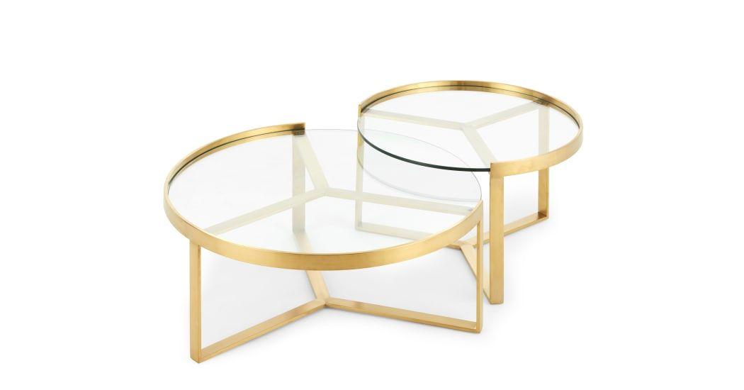 Geometric Black Glass Nesting Coffee Tables Modern Coffee Table