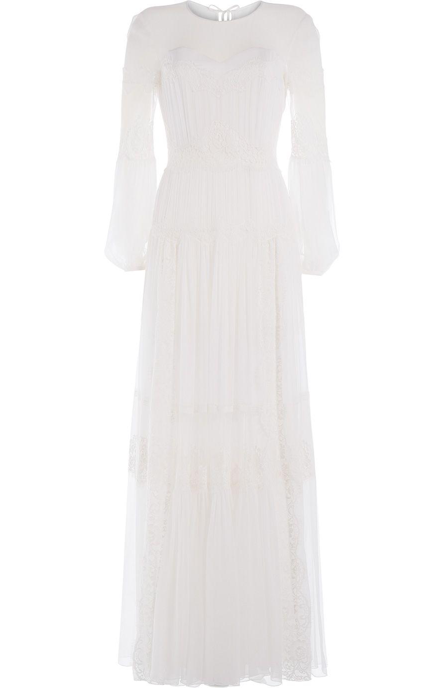 ALBERTA FERRETTI Silk Mousseline Maxi Dress with Lace. #albertaferretti #cloth #evening/black tie