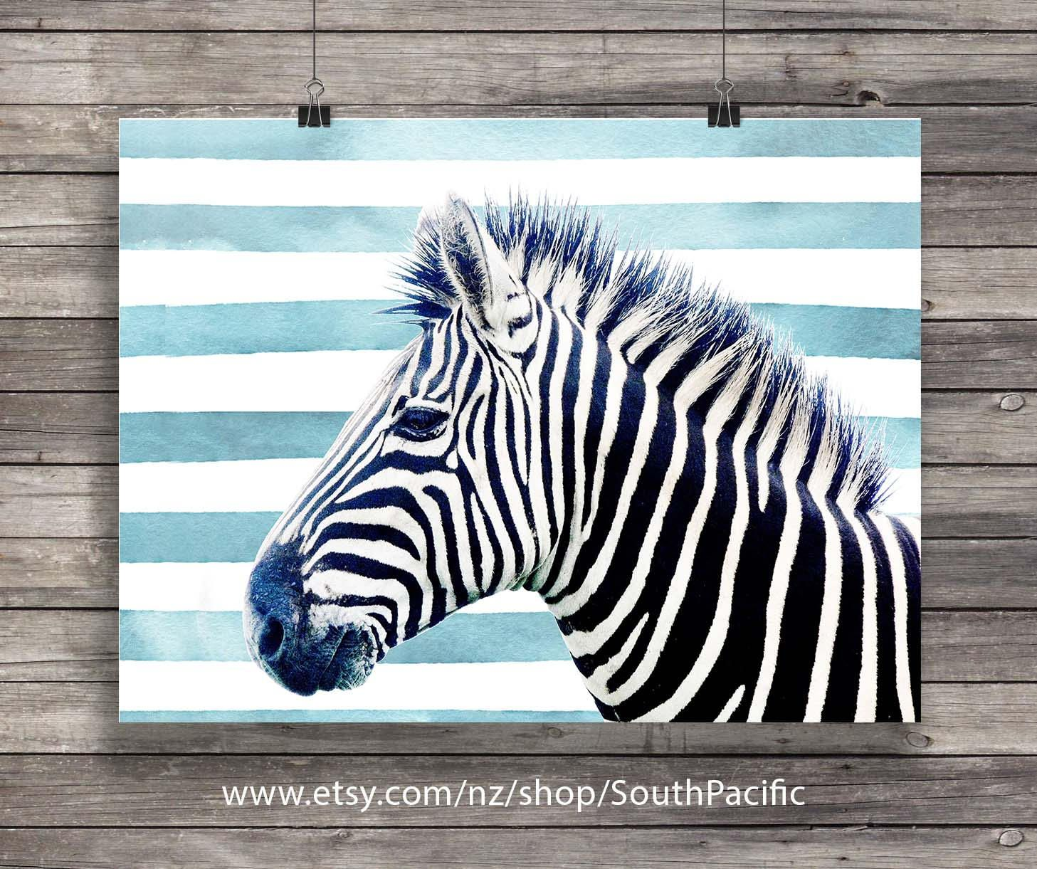 Zebra Printable Art Watercolor Blue Stripes Graphic Black And Print African