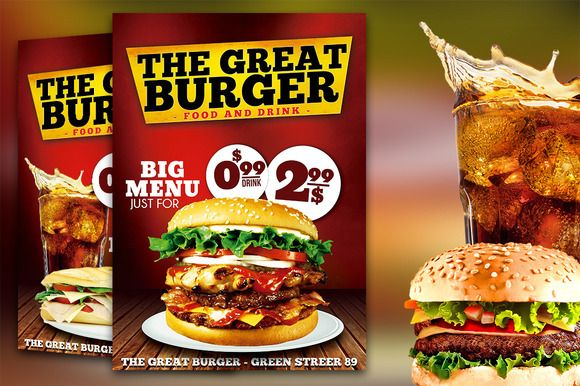 Burger Fast Food Flyer Restaurant by Graphicfy Templates on ...