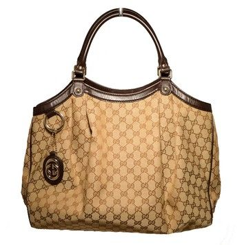 baef9a4b0874 Gucci Monogram Canvas Pleated Brown Tote Bag. Get one of the hottest styles  of the