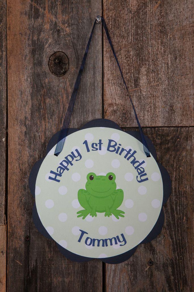 Frog Door Sign Birthday - Navy Blue & Green