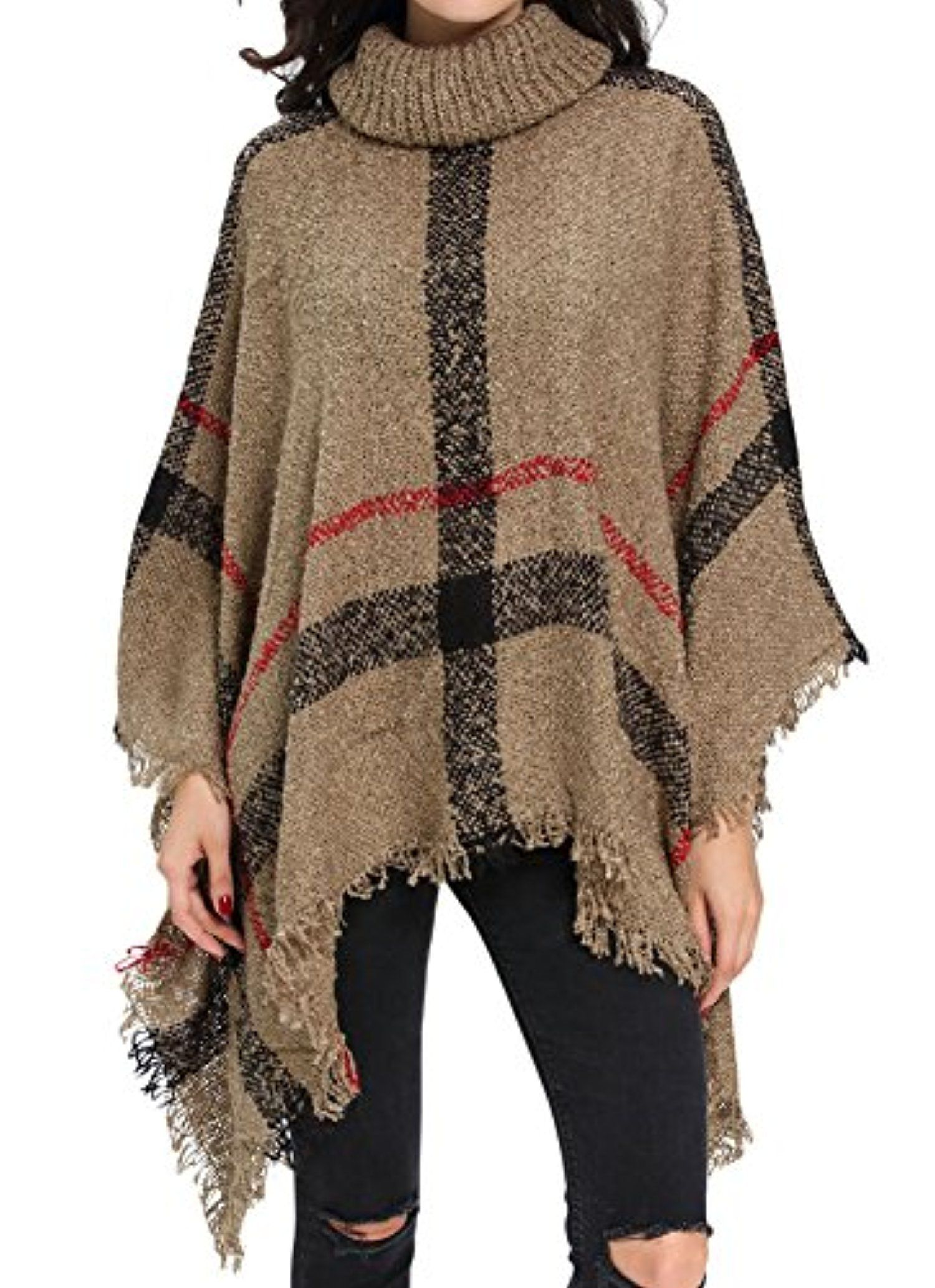 Womens Turtleneck Tassel Cape Knit Poncho Sweater Cardigan Khaki -- Awesome products selected by Anna Churchill