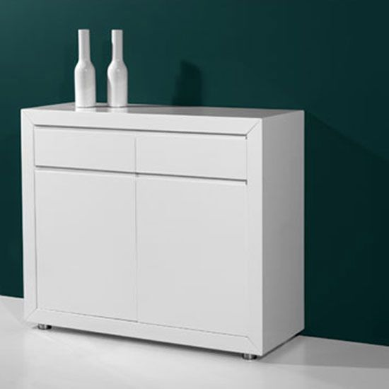 Features Fino Retro High Gloss White Sideboard With 2 Doors Drawers An Amazing In Finish Provides You