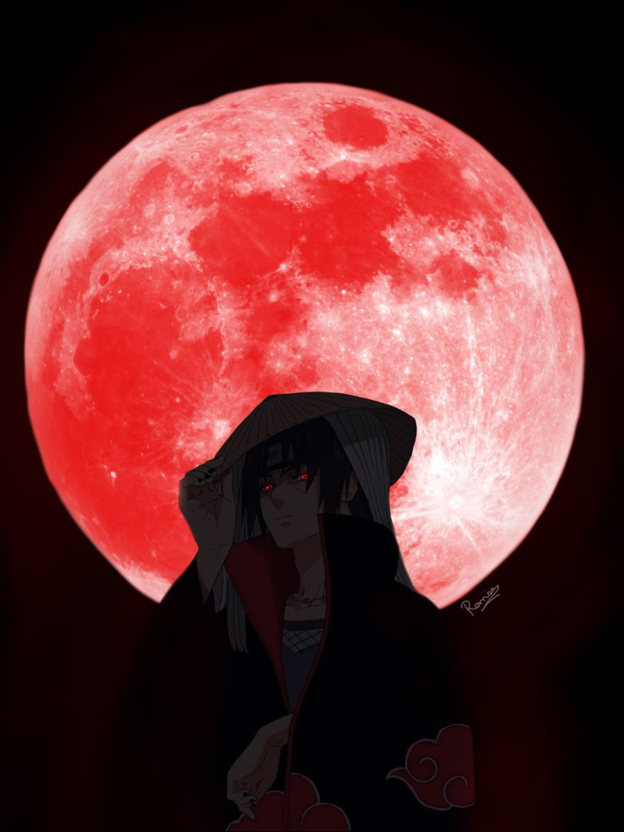Itachi Uchiha Under The Red Moon In 2021 Naruto Wallpaper Red Moon Itachi