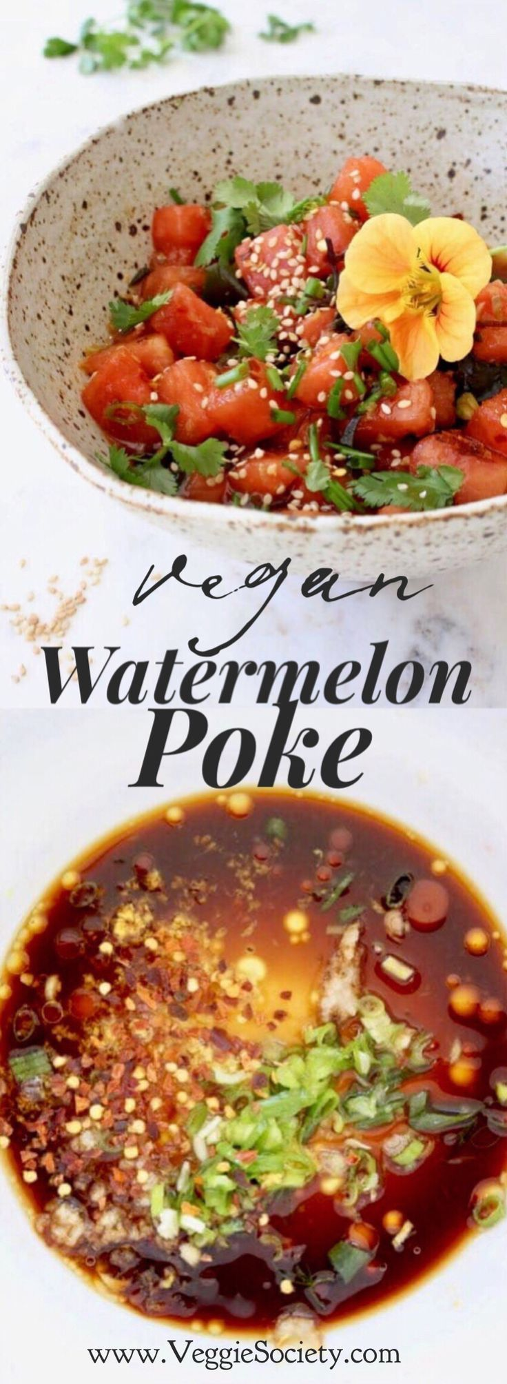 Watermelon Vegan Poke Bowl Recipe with Sea Vegetables, Garlic and Ginger |