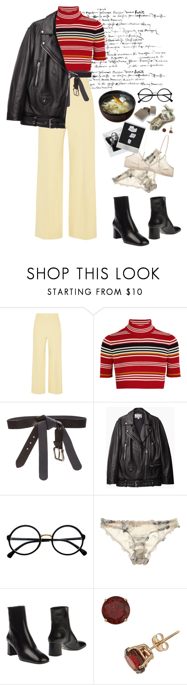 """""""tired"""" by fabdrabmag ❤ liked on Polyvore featuring The Row, Alessandra Rich, Maison Margiela, Acne Studios, Retrò, Beautiful Bottoms and Prada"""