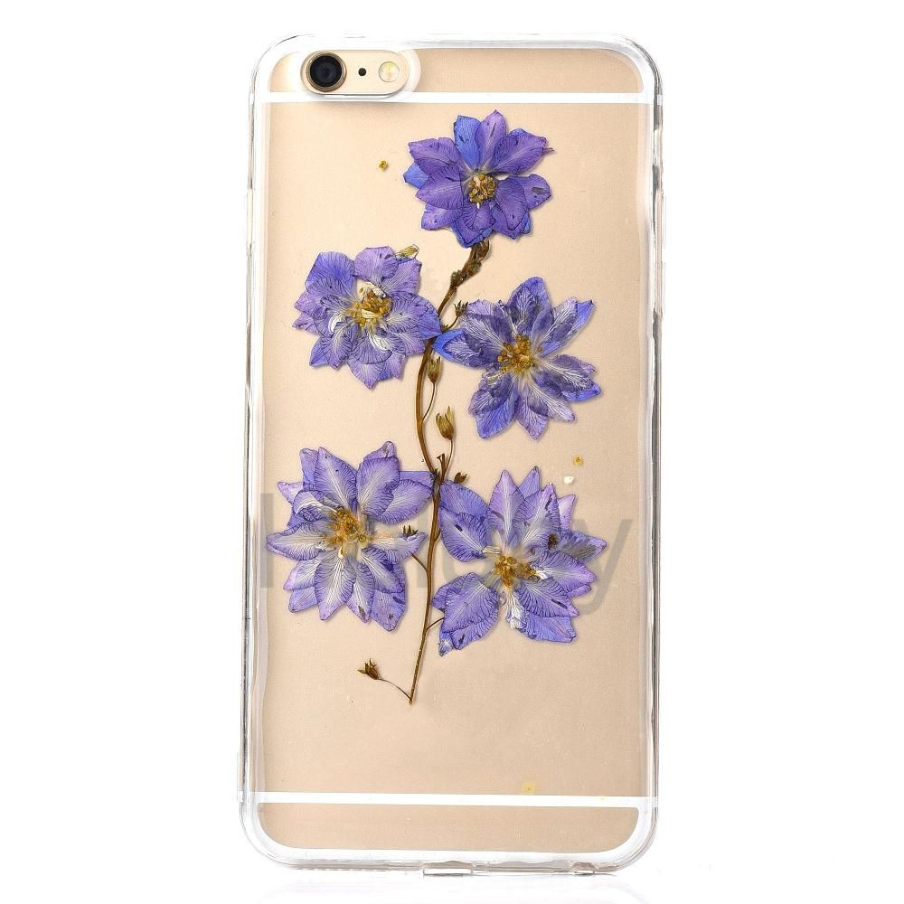 Transparent Real Flowers Specimen Epoxy Soft TPU Back Cover Case for iPhone 6/ 6S - Purple Flowers