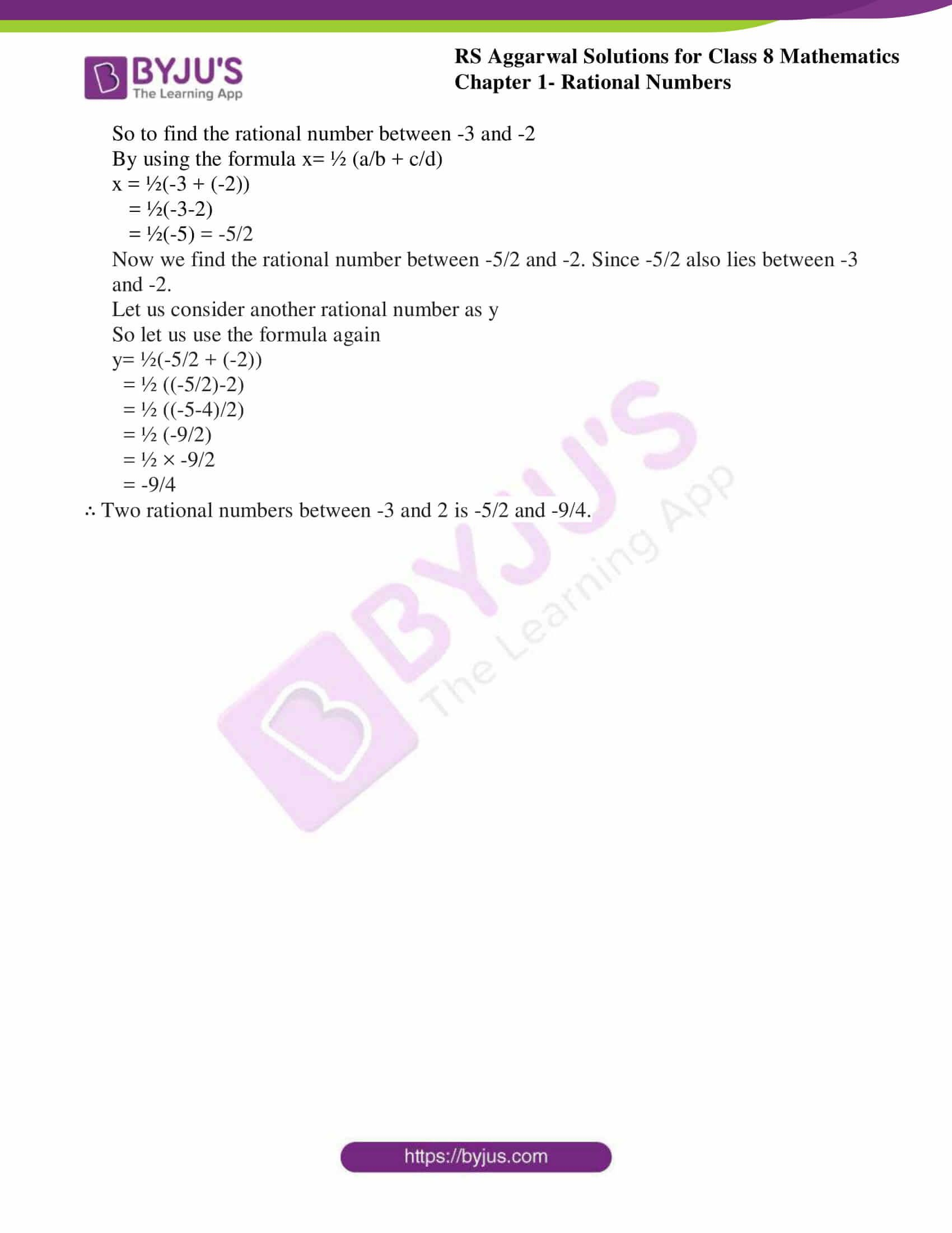 Fresh Ideas - RS Aggarwal Solutions for Class 8 Chapter 1 Rational
