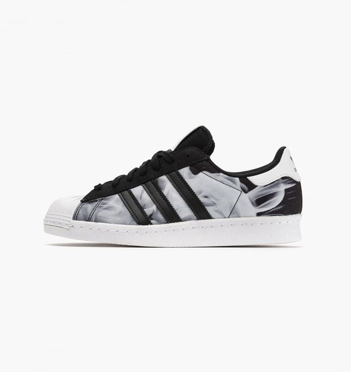 Womens Adidas Superstar 80s x Rita Ora Smoke Pack Print Shoes Black-White  B26728