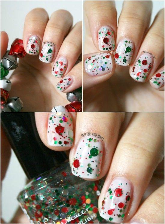 Christmas Nail Ideas Christmas Nail Art Designs Green Glitter And