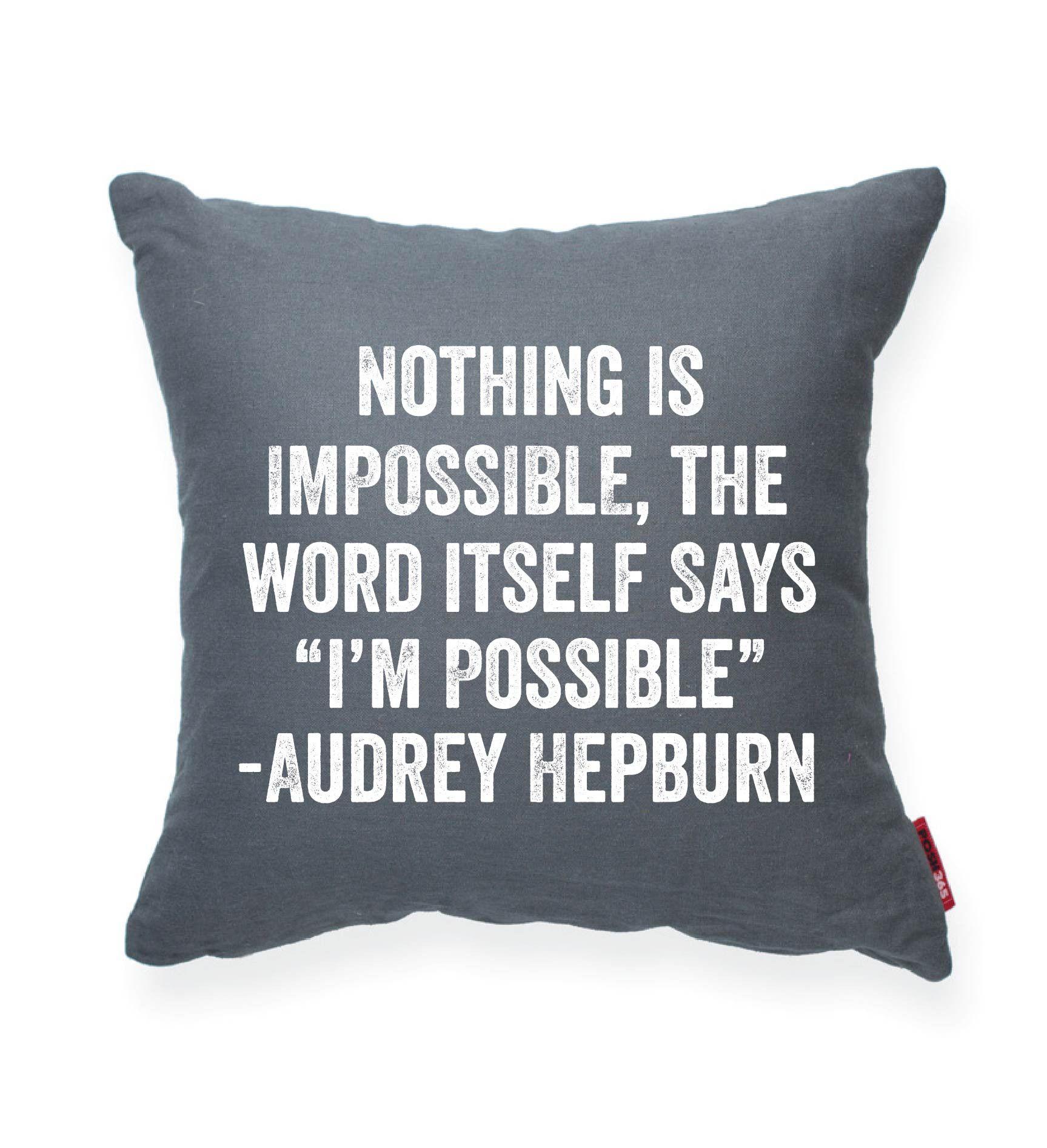 """Girly Bedroom Audrey Hepburn Poster: Audrey Hepburn """"I'm Possible"""" Decorative Throw Pillow"""