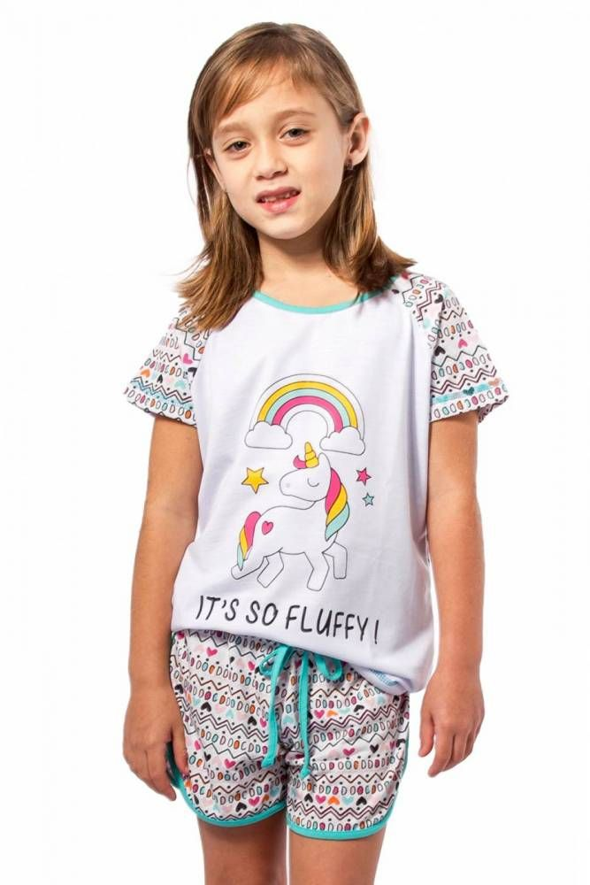 bd27ee511a4 Pijama Feminino Infantil Curto com Shorts - Unicórnio