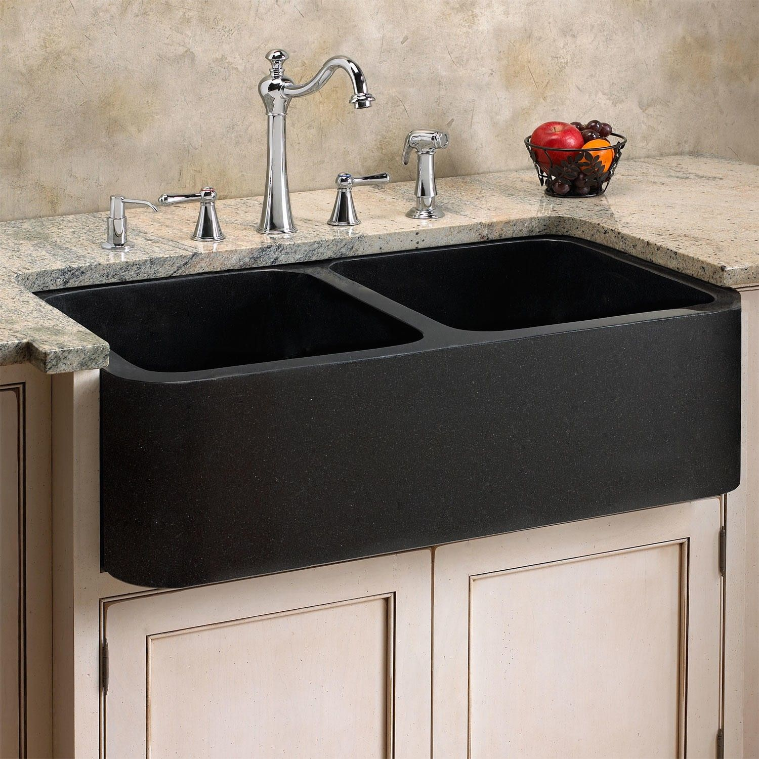 "Off White Kitchen Cabinets With Stainless Appliances: 33"" Polished Granite Double-Bowl Farmhouse Sink"