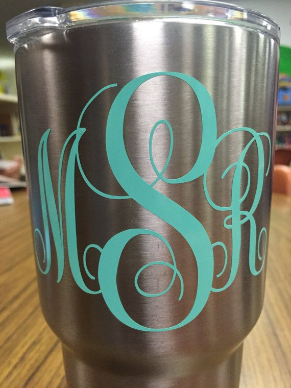 Vinyl Letter Initials For Yeti Cup Or Car Decal X Inch Yeti - Vinyl letters for cups