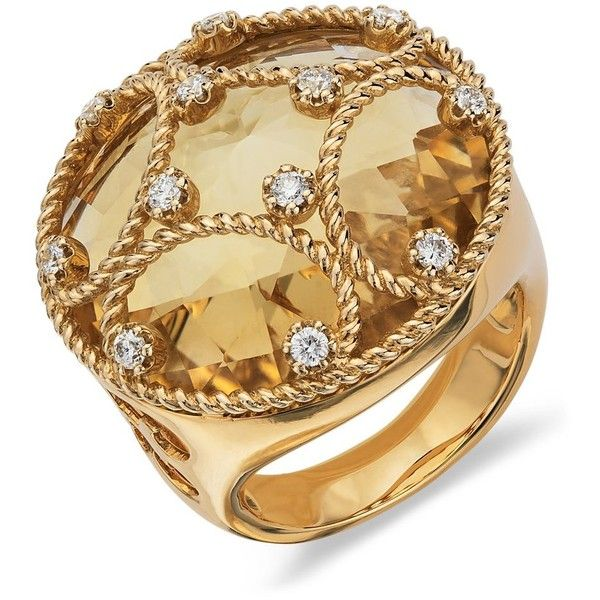 Blue Nile Citrine and Diamond Cocktail Ring in 18k Yellow Gold ❤ liked on Polyvore