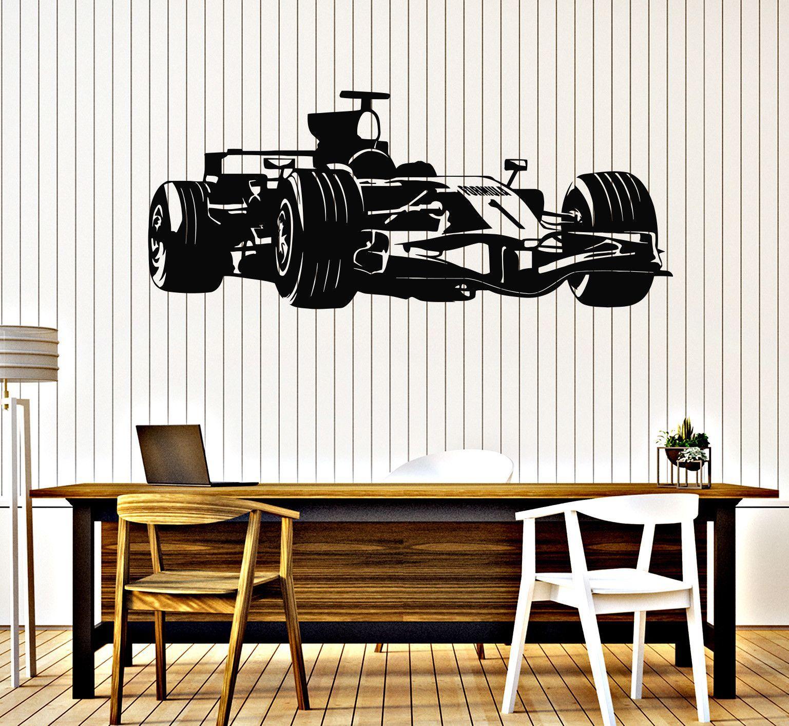 Vinyl Wall Decal Formula Race Car Garage Decor Childrens Room - Custom vinyl wall decals for garage