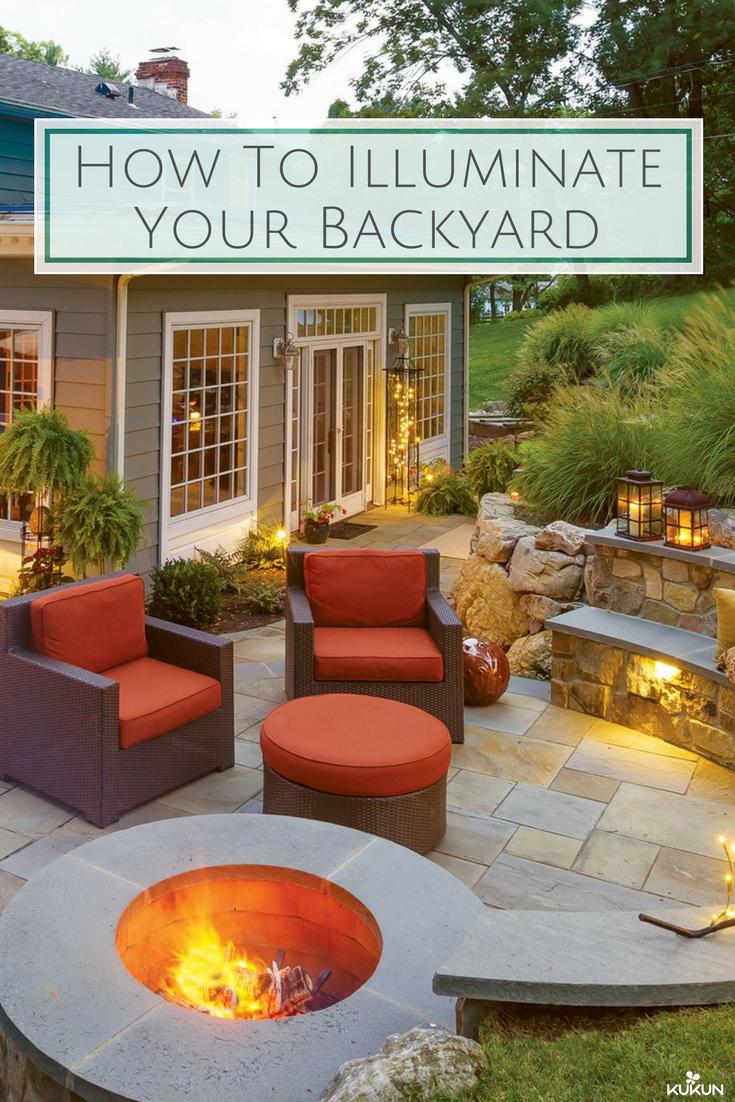 How To Illuminate Your Yard With Landscape Lighting Exterior Design Backyard Backyard Backyard Landscaping