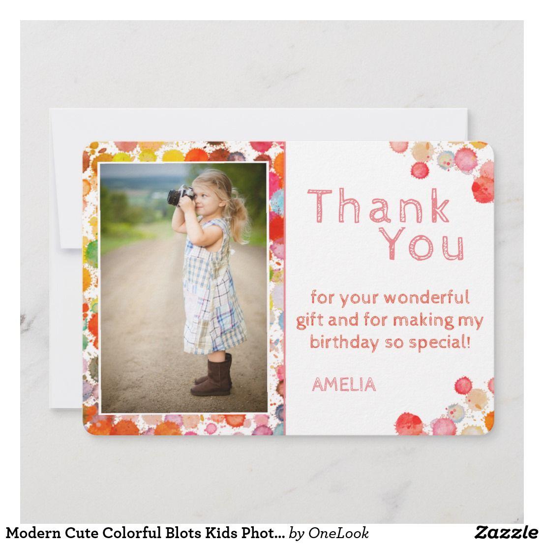 modern cute colorful blots kids photo birthday thank you
