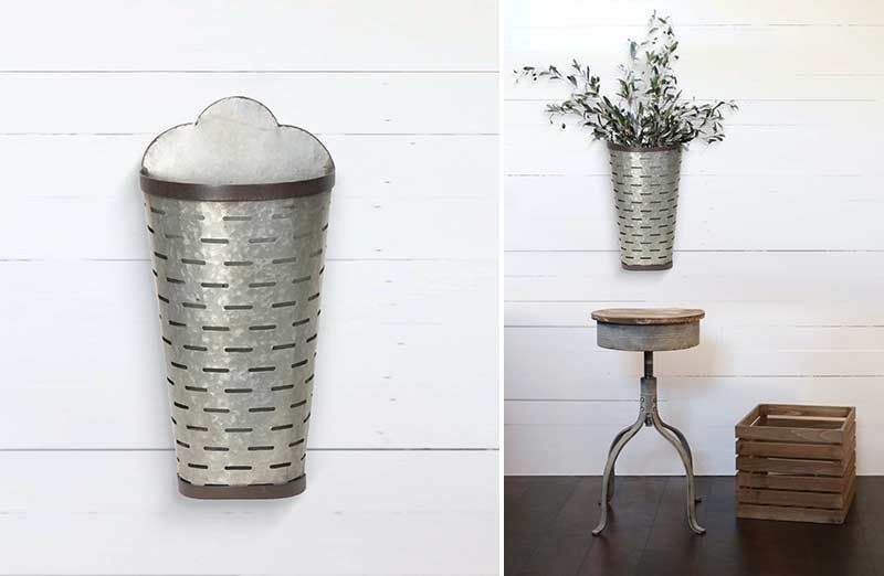 This Half Bucket Reveals A Farmhouse Feel And A Rusted To Perfection Finish This Galvanized Olive Wall Bucket Is Soo Decor Olive Bucket Christmas Sugar Mold